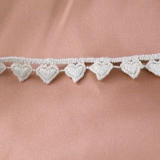 Galón Encaje bordado algodón rústico pequeños corazones