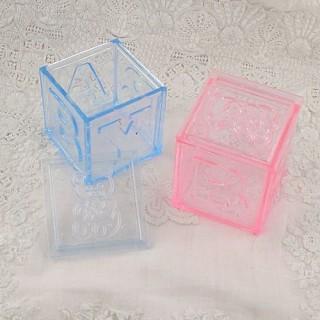 Cube plastique transparent boite dragée baptême