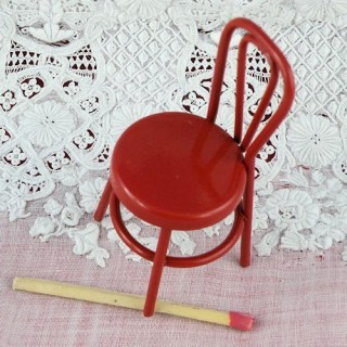 Vintage miniature red metal chair, miniature painted iron doll house chair