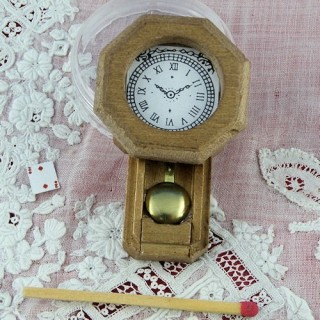 wood wall pendulum clock miniature for dollhouse kitchen