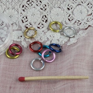 Aluminium jump rings in fashion colors 1 cm.