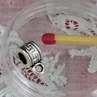 Metal joint cylinder bead bracelet charm, 5 mm diameter