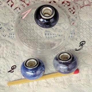Perle verre grand trou bijoux 17 mm.