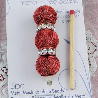5 metal beads braided large hole 14 mm.