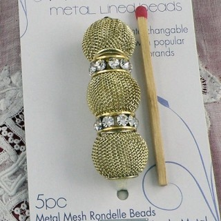 5 Perles métal tressé grand trou 14 mm.