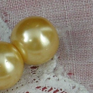 Perle ronde nacrée en verre 10 mm.