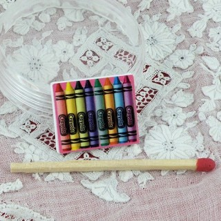 Miniature metal pen box for doll school.
