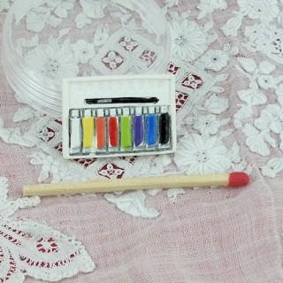 Palette tubes gouache miniature maison poupée