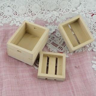 Cageots bois miniature maison poupée