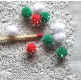 Iridescent Christmas Pom Pom  7mms