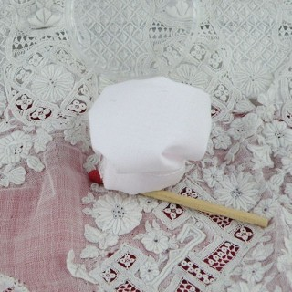 Miniature white chef hat for doll