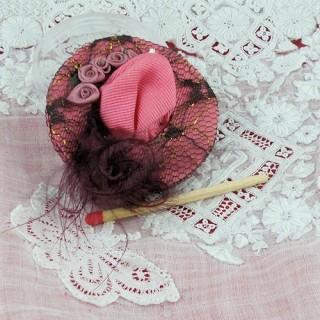 Chapeau miniature poupée 1/12 modiste chapelier 2 cm