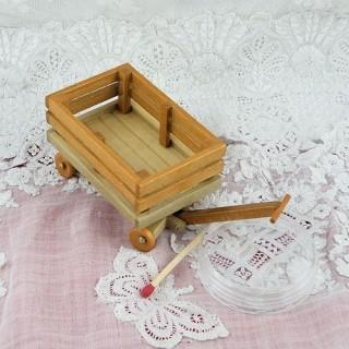 Remolca carretilla madera miniatura casa muñeca