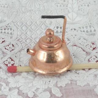 Bouilloire rétro cuivre miniature maison poupée