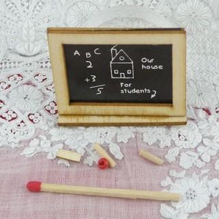 Ardoise miniature maison poupée 4 x 5 cm