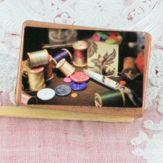 Small sewing box miniature for doll, dollhouse miniature  sewing set