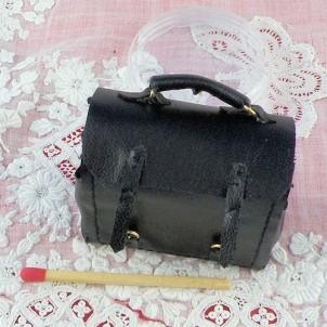 Cartable sacoche cuir miniature maison poupée