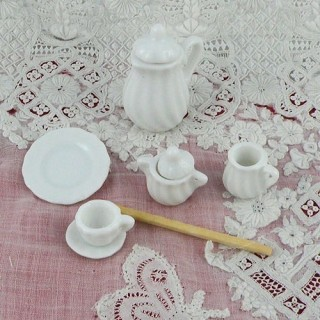 Doll house miniature coffee set white china