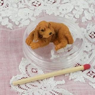 Chien Cocker miniature maison poupée, 3 cm.