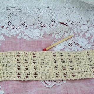 Dentelle entredeux coton rustique, galon, sangle 5cm