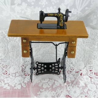Sewing machine dollhouse miniature with fabric