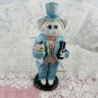 Painted Ceramic just married pig figurine