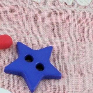 Bouton étoile plat deux trous 15 mm.