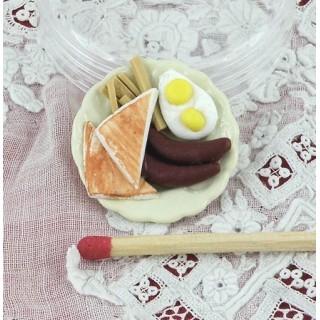 Base salchicha patatas fritas huevos miniatura casa muñeca