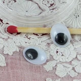 Ojos ovales móviles que deben clavarse felpa 10 mm.