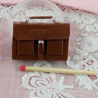Schulmappe kleines Leder Haus Puppe 4 cm