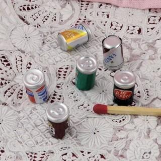 6 Canettes soda boisson miniatures poupée