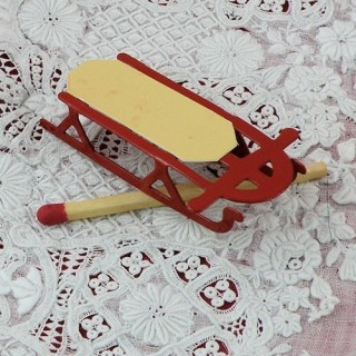 Red metal sled dollhouse miniature 5 cms