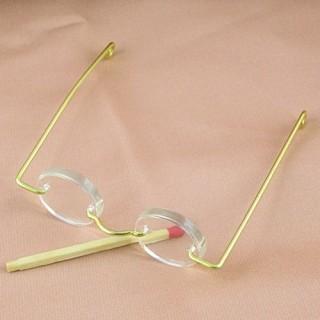 Lunettes poupée miniature métal 6 cm.
