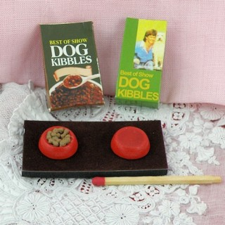 Miniature dog dish and food bags
