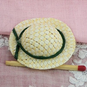 Sombrero paja miniatura casa muñeca 4 cm.