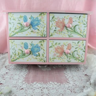 Wooden chest for doll  baptism decoration 25 cms