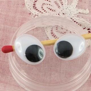 Ojos ovales riboulants para fabricación de animales en felpa, 15 mm.
