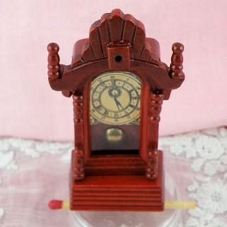 Wood Victorian pendulum clock miniature for dollhouse kitchen