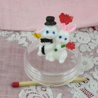 Couple lapins miniatures décoration mariage