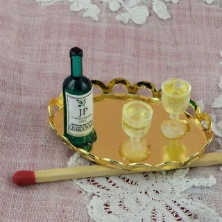 White wine with two glasses on tray miniature for doll house.