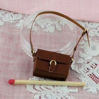 Leather bag miniature for dollhouse 2 cms