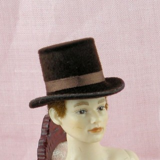 Miniature top hat for doll 1/12