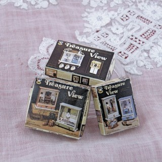 Set of 3 treasure view kits boxes miniature doll house miniature,
