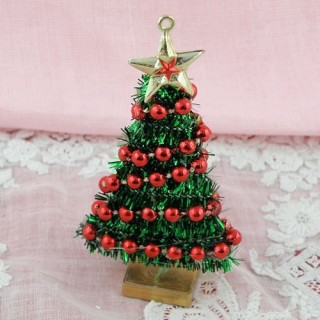 Doll house miniature Chritmas tree 7 cms.