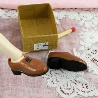 Par zapatos miniatura de hombre 1/12 casa de muñecas