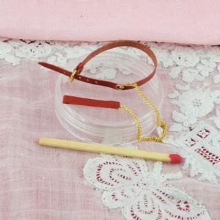 Laisse et collier Chien miniature poupée