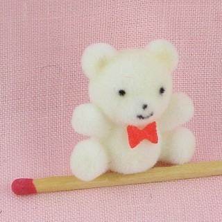 Flocked bear mini with bow tie 26 mms