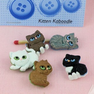 Dress it up kittens baby cats buttons.