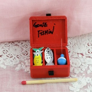 Gone fishing tackle box miniature for doll house.