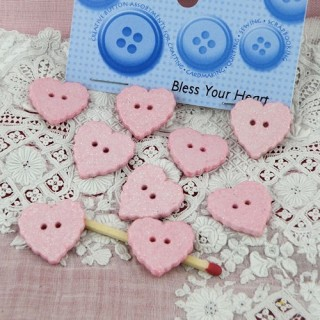 Heart buttons glitter pink  Dress it up,